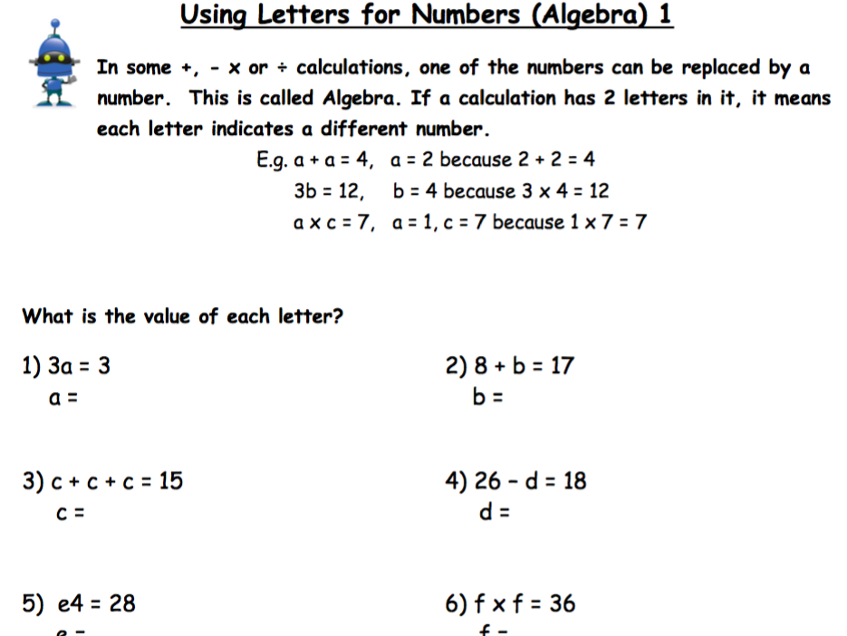Algebra - The Basics. Using Letters for Numbers