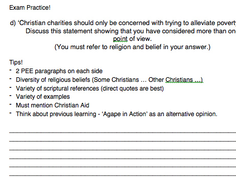 Eduqas RS GCSE New Spec. Issues of Human Rights Contingency Booklet Christian charities - poverty