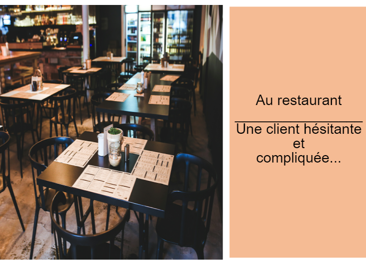 French speaking & writing - Dialogue in French to complete - Au restaurant