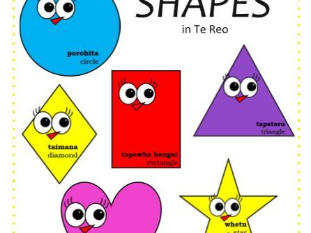 Maori Shapes Poster - Bright and Happy Shape Learning Te Reo Word Recognition