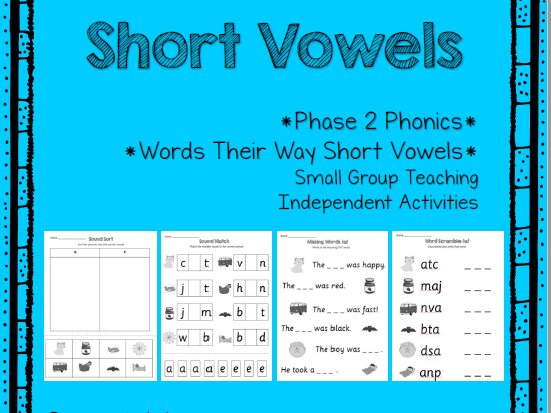 Phonics Phase 2 - Short Vowels - CVC - Over 30 Worksheets!