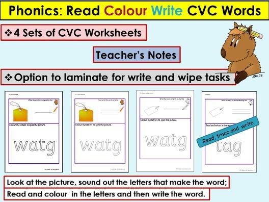 Phonics: CVC/Onset Rime Worksheets - Read, Colour, Trace, Write, Teacher Notes