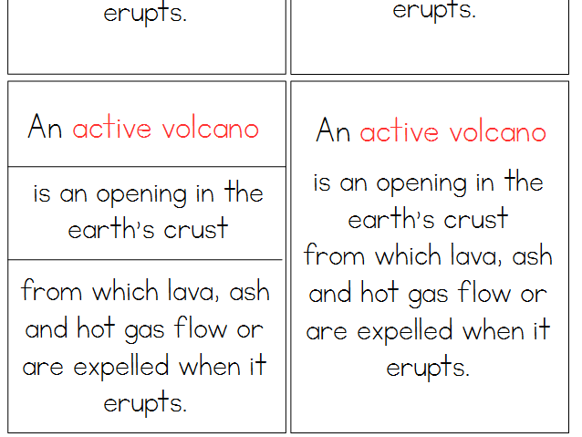 Volcanoes Montessori Definition Cards