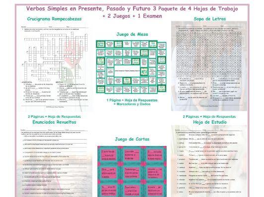 Present , Past, and Future Simple 3 Spanish 4 Worksheet-2 Game-1 Exam Bundle