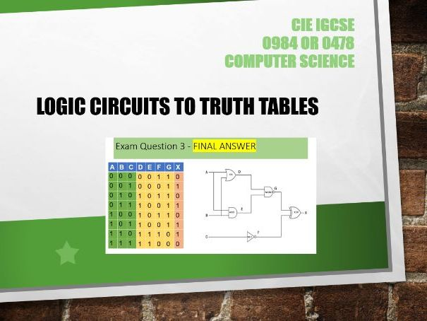 Logic Circuits to Truth Tables - Computer Science GCSE 0478 or 0984