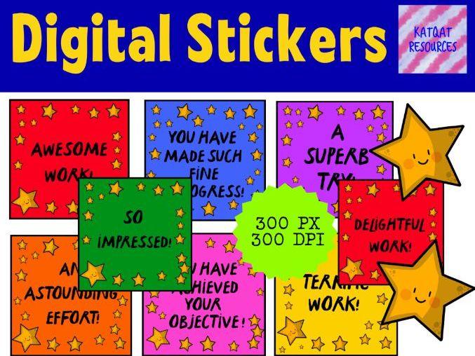 Digital Reward Virtual Teacher Stickers Star - Writing - Marking