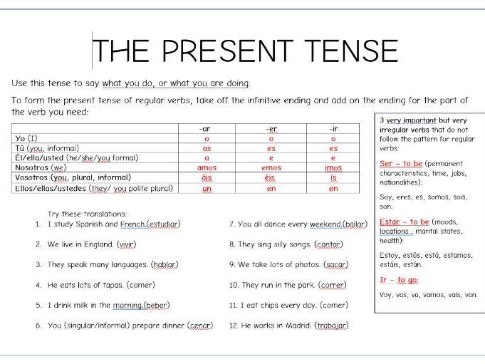 Spanish present tense bundle of 3 worksheets.