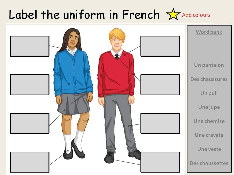 Mon uniforme scolaire - school uniform - y7 French