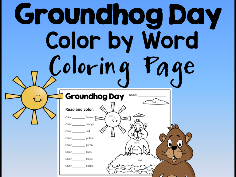 Groundhog Day Color the Word Activity Sheet *Editable*