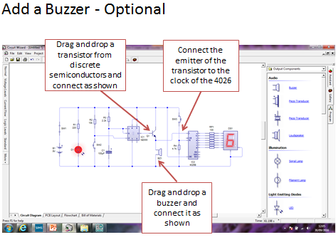 How 2 Guide on how to create a circuit diagram for a lap counter using circuit wizard