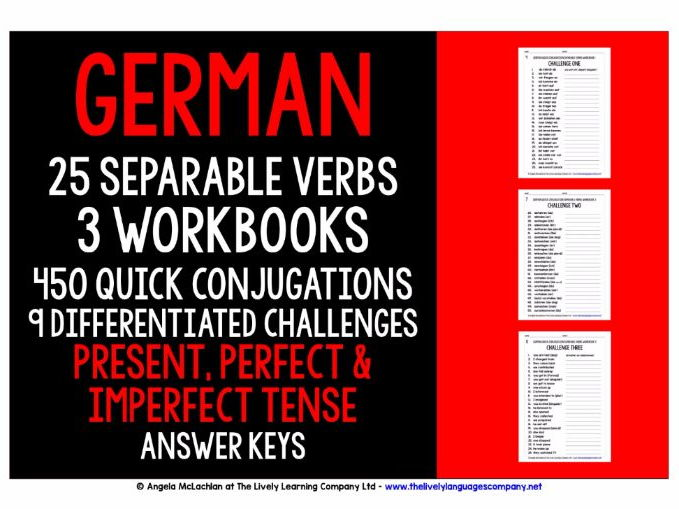 GERMAN SEPARABLE VERBS CONJUGATION - PRESENT, PERFECT & IMPERFECT TENSE - WORKBOOKS WITH ANSWER KEYS