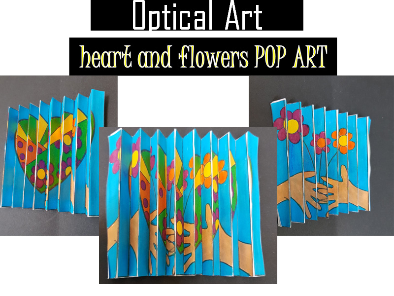 Optical illusion activity Hearts and flowers Pop Art