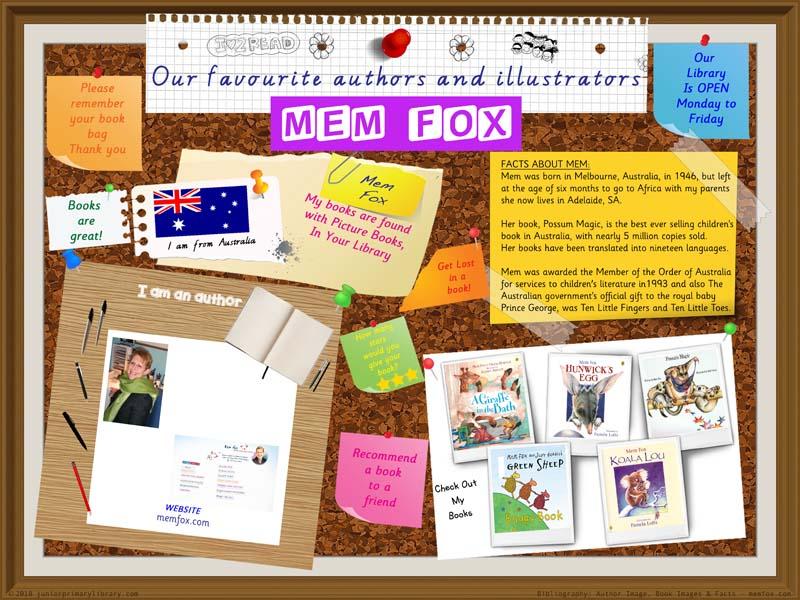 Library Poster - Mem Fox Australian Author Of Children's Books