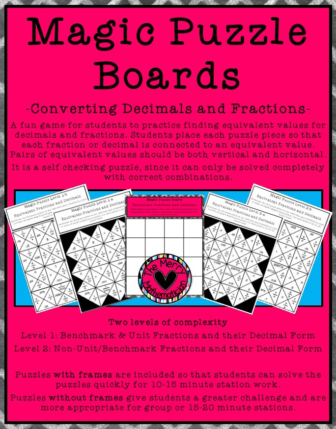 Magic Puzzle Boards Equivalent Decimals and Fractions