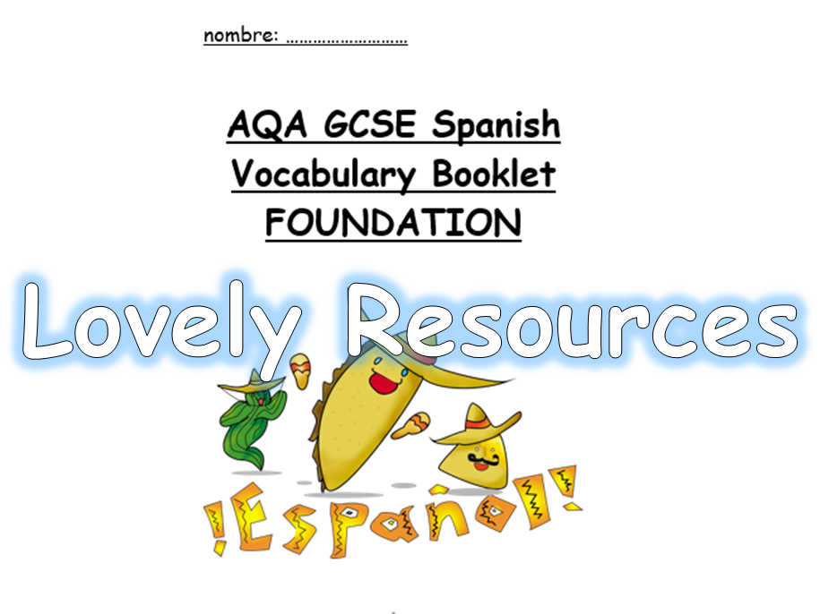 NEW SPEC AQA GCSE Spanish Vocabulary Booklet - Foundation Tier