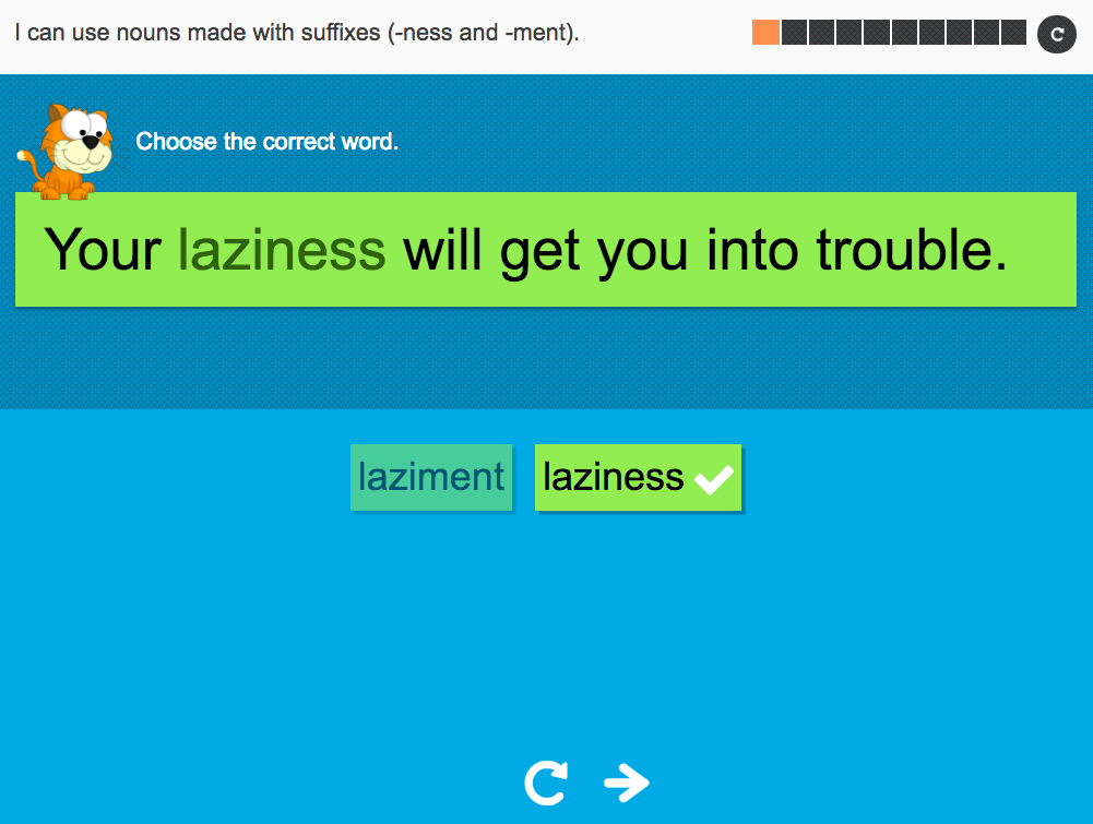 I can use nouns made with suffixes (-ment and -ness) - Interactive Activity - Year 2 Spag