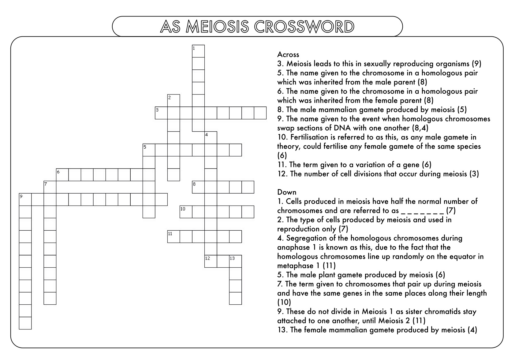 A Level Biology Crossword Pack on the Cell Cycle and Cell – Meiosis Worksheet Pdf