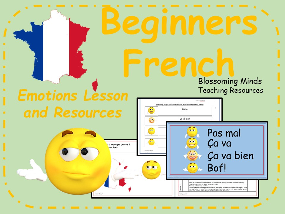 french lesson and resources ks2 emotions and feelings beginners by blossomingminds. Black Bedroom Furniture Sets. Home Design Ideas