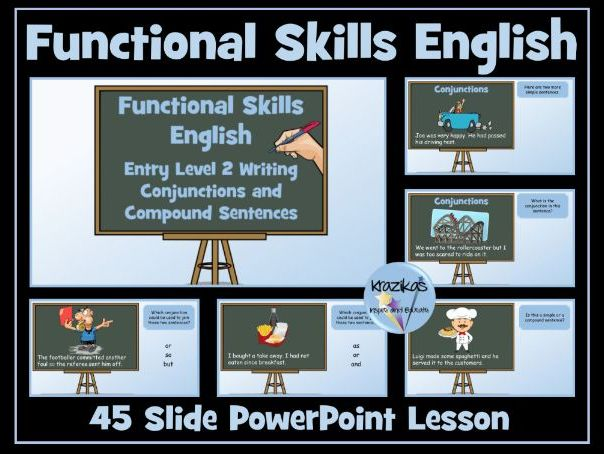 Functional Skills English - Entry Level 2 - Writing - Conjunctions and Compound Sentences PowerPoint