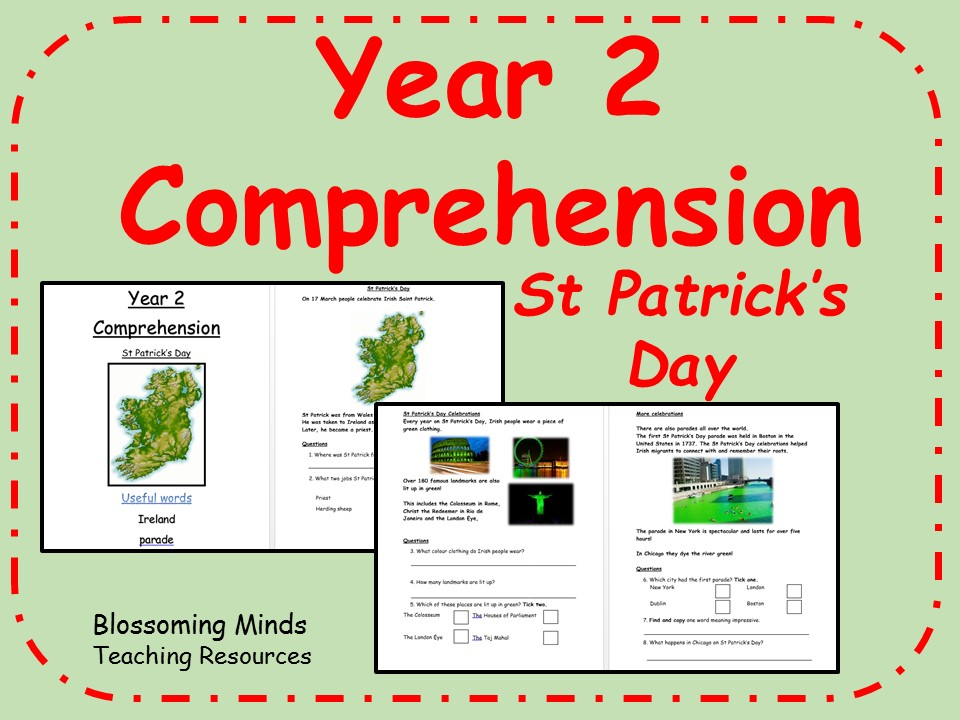 Year 2 Reading Comprehension - St Patrick's Day