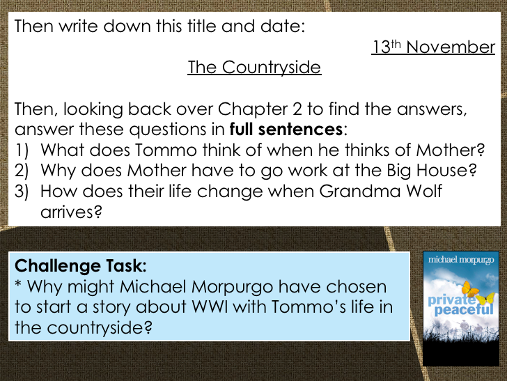 Private Peaceful - Y7 Lesson Pack