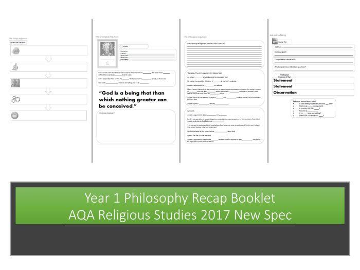 Year 1 Philosophy Recap Booklet - AQA Religious Studies 2017 New Spec
