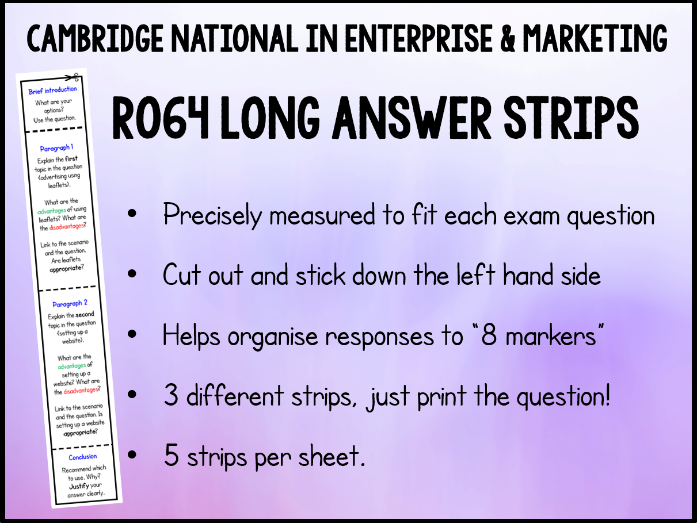 3 x R064 8 Mark Answer Strips - Cambridge National in Enterprise & Marketing