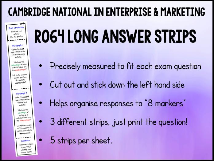 3 x R064 8 Mark Answer Strips - Cambridge National in Enterprise & Marketing