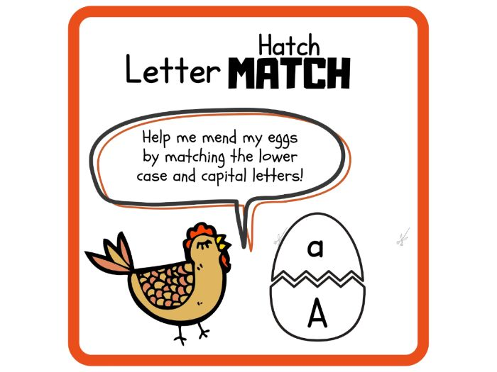 Letter match activity for Capital and lowercase letters