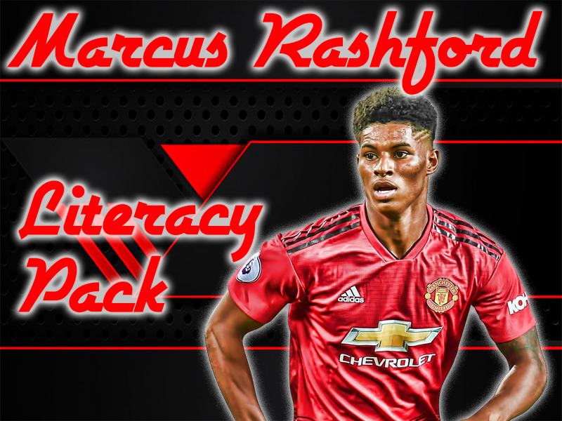 Marcus Rashford Literacy Pack. Letter review, missing word, word searches, fact file and colouring!