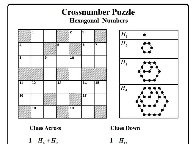 Hexagonal Numbers (Cross-number Puzzle)