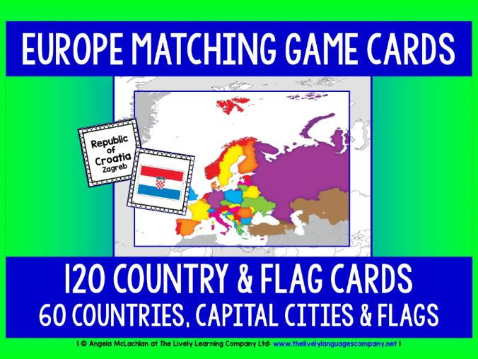 GEOGRAPHY - EUROPE COUNTRIES, CAPITAL CITIES & FLAGS GAME CARDS
