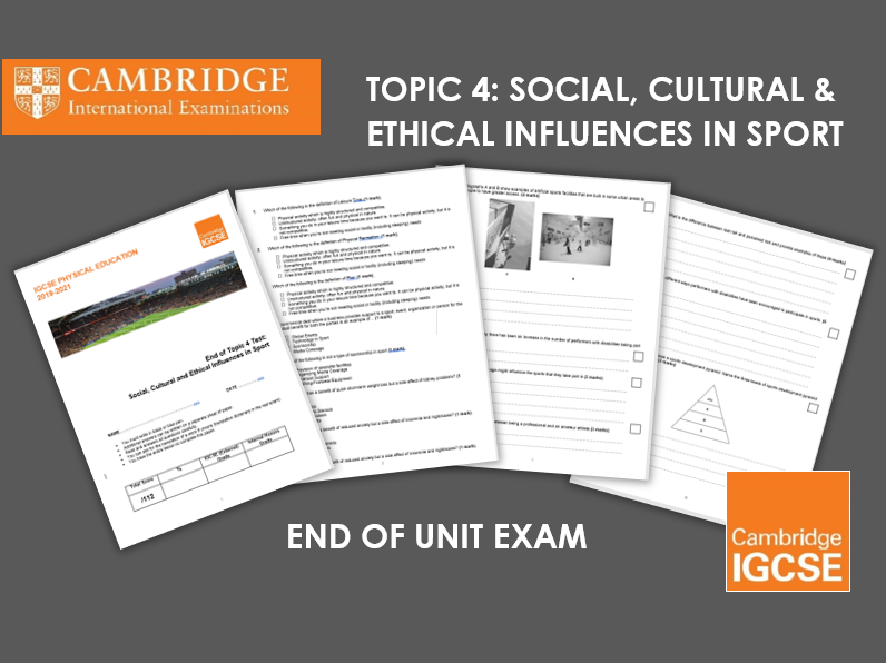 IGCSE Topic 4: End of Unit Test - Social, Cultural and Ethical Influences in Sport