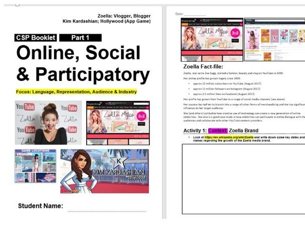 AQA GCSE Media Online CSP Workbooks - Zoella, Kardashian, Lara Croft