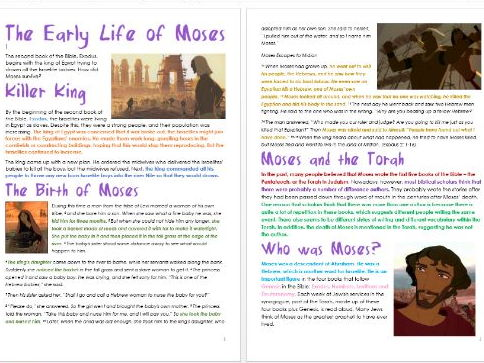 Old Testament Stories: Early Life of Moses: Differentiated Information and Activity Sheets