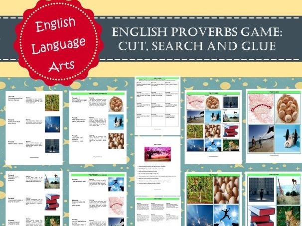 English Proverbs Game - Cut, Search and Glue