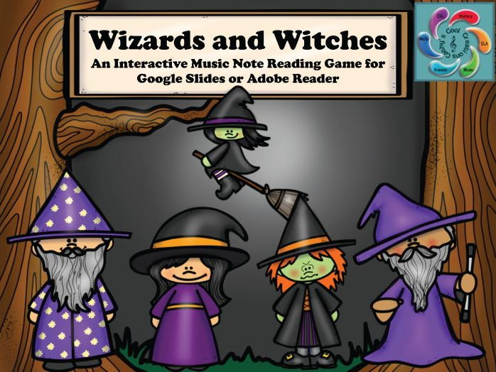 Interactive Music Note Reading game-Google Slides / Adobe PDF-Wizards and Witches