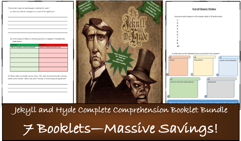 Jekyll and Hyde - Complete Comprehension bundle. Full scheme of work. 7 booklets! 100+ pages 9-1 GCSE. 60% saving!