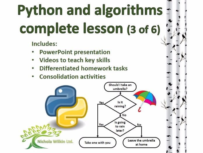 Python and Algorithms Complete Lesson 3 of 6 (GCSE Computer Science and KS3 Computing)