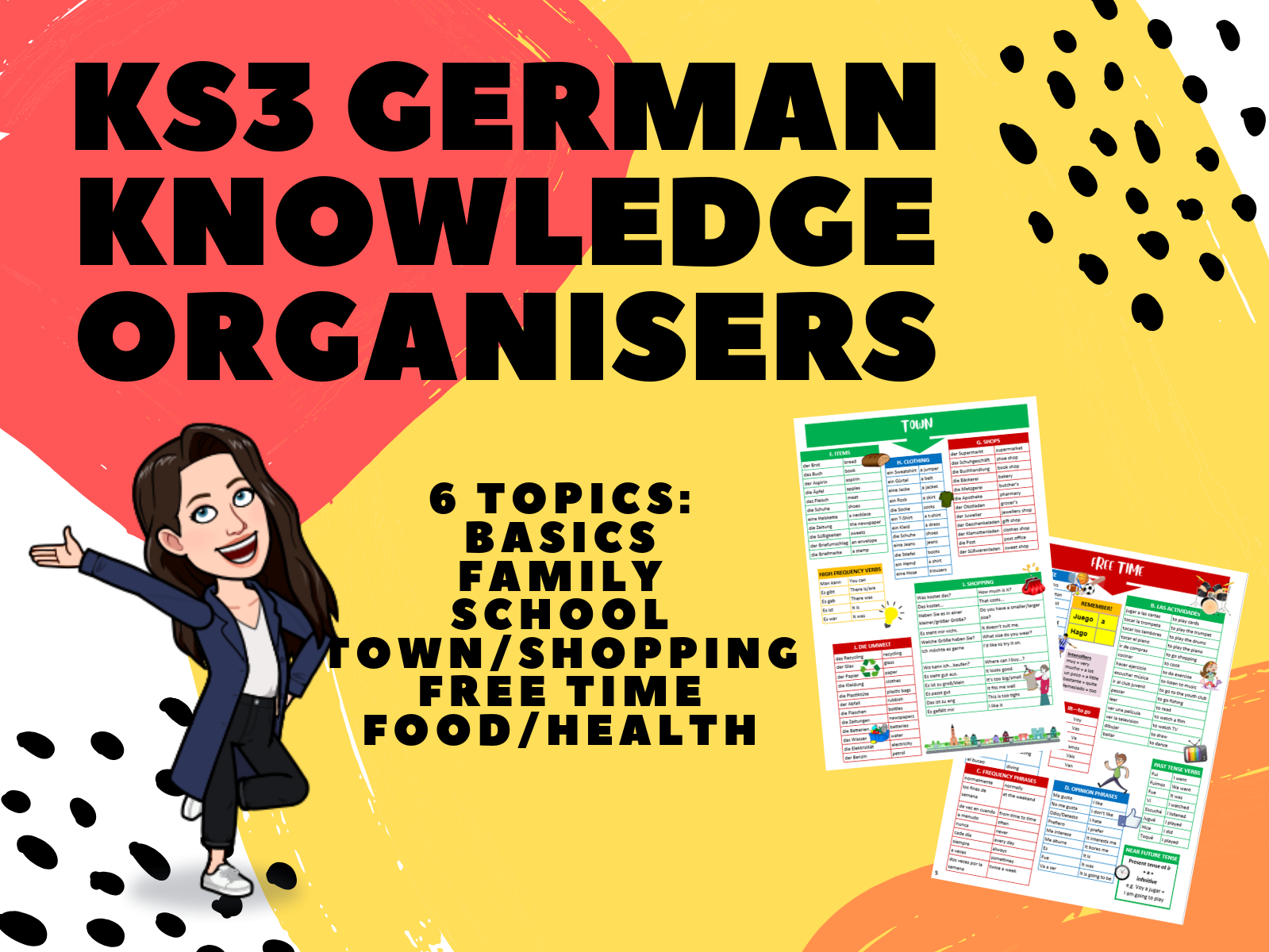 KS3 German Knowledge Organisers 6-Topic Bundle