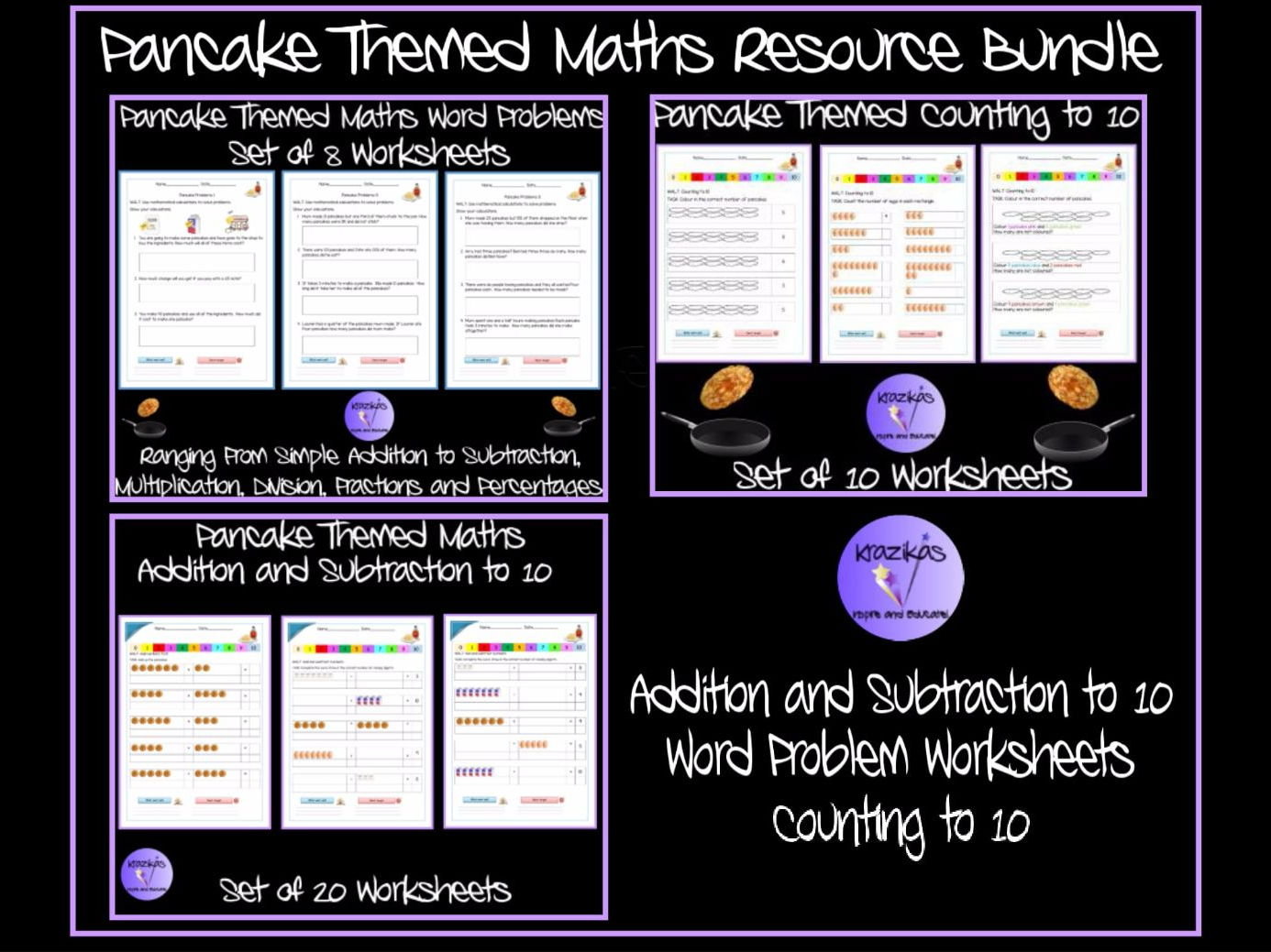 Pancake Themed Maths Resource Bundle - Word problems, Counting to 10
