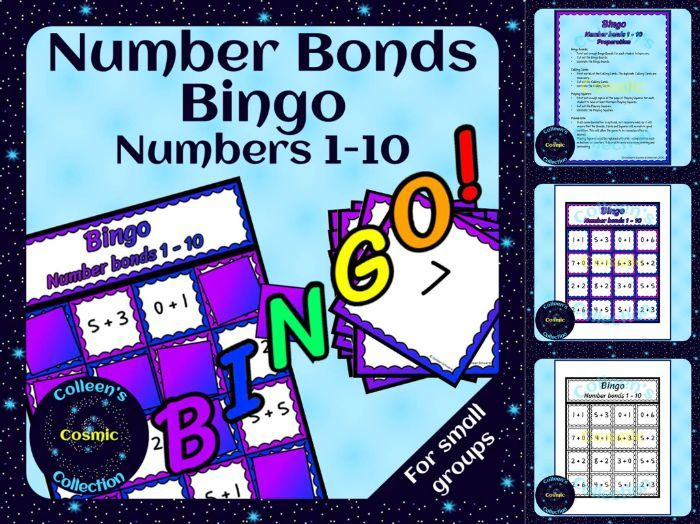 Number Bonds Bingo for numbers 1-10 for Small Groups