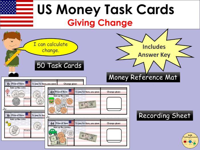 US Money Giving Change Task Cards