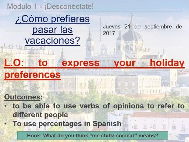 AQA GCSE Viva Spanish Unit 1 Desconectate. Como prefieres pasar las vacaciones