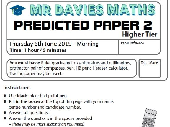 HIGHER GCSE Maths Predicted Paper 2 Edexcel 2019 June 6th 50 Pages