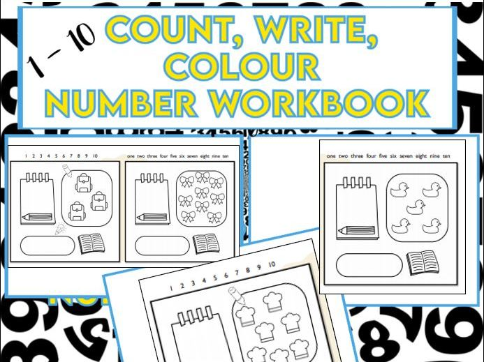 Count, Write, Colour Number Workbook EYFS KS1
