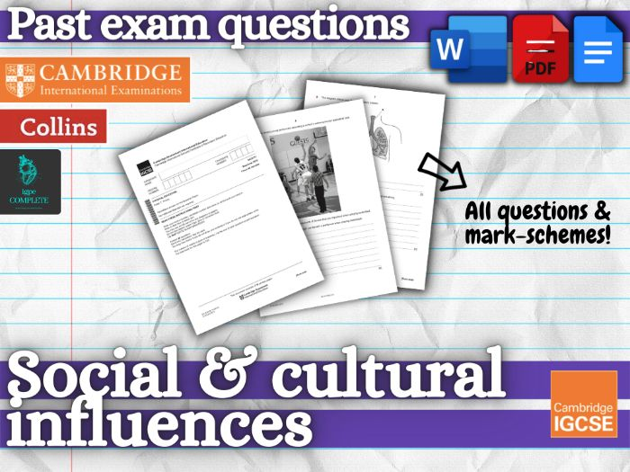 IGCSE PE - PAST EXAM QUESTIONS and mark schemes - CHAPTER 10 (Social and Cultural Influences)