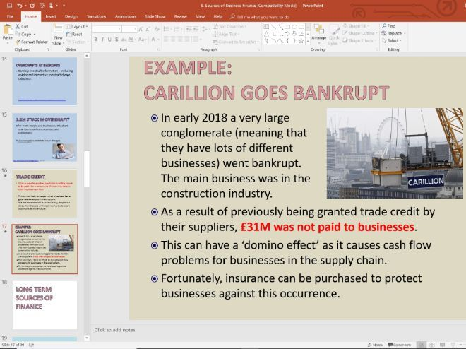 8. Sources of Business Finance - Topic 1.3 - Edexcel GCSE Business - Theme 1 - Slides and Activities