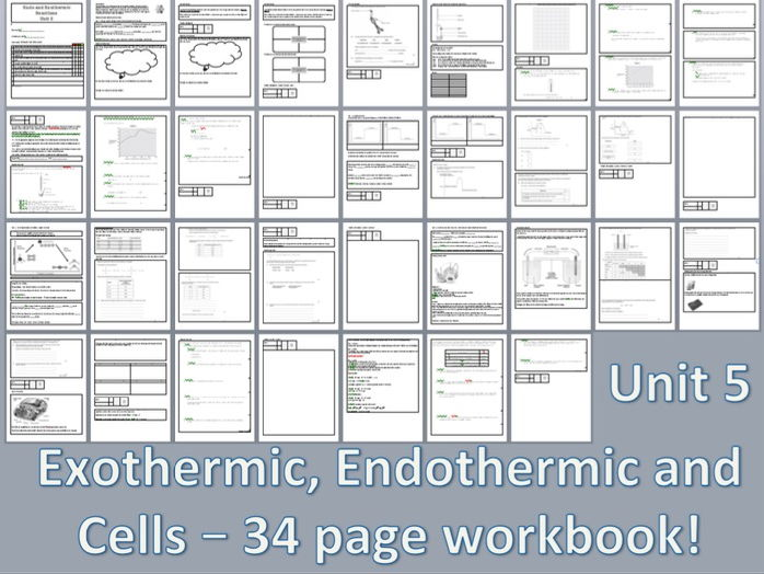 AQA chemistry - unit 5 - full workbook and required practical for exothermic, endothermic and cells