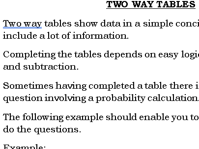 Two Way Tables GCSE (9-1)